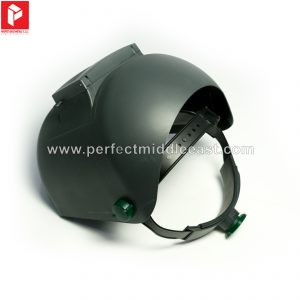 Light weight welding helmet with flip up lens.