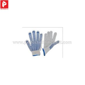 Knitted Gloves White 1 Side Blue Dots