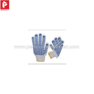 Knitted Gloves White 2 Side Blue Dots