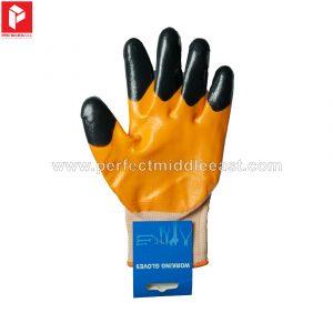 Hand Gloves Black, Orange and White
